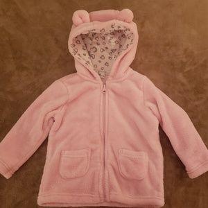 Baby Girl Fluffy Pink Bear Zip Up Hoodie